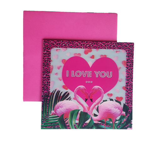 """Joni's Winkel Valentijnskaart """"Flamingo"""""""
