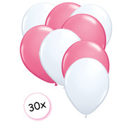 Joni's Winkel Ballonnen Wit & Roze 30 stuks 27 cm