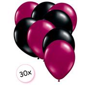 Joni's Winkel Ballonnen Fuchsia & Zwart 30 stuks 27 cm