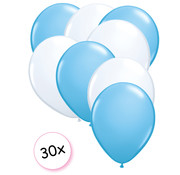 Joni's Winkel Ballonnen Licht blauw & Wit 30 stuks 27 cm