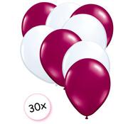 Joni's Winkel Ballonnen Fuchsia & Wit 30 stuks 27 cm