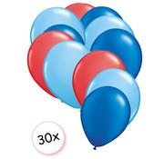 Joni's Winkel Ballonnen Rood, Licht blauw & Blauw 30 stuks 27 cm