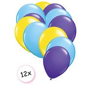 Joni's Winkel Ballonnen Geel, licht blauw & Paars 12 stuks 27 cm