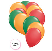 Joni's Winkel Ballonnen Groen, Oranje, Rood 12 stuks 27 cm