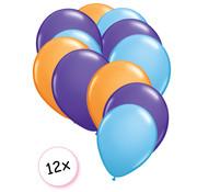 Joni's Winkel Ballonnen Oranje, Paars, Licht blauw 12 stuks 27 cm
