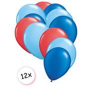 Joni's Winkel Ballonnen Rood, Licht blauw & Blauw 12 stuks 27 cm