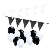 Joni's Winkel Versierpakket Ballonnen + Vlaggenlijnen Wit & Zwart