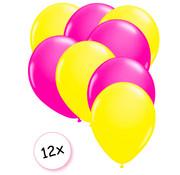 Joni's Glow-Shop Ballonnen Neon Geel & Neon Roze 12 stuks 25 cm