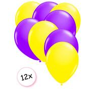 Joni's Glow-Shop Ballonnen Neon Geel & Neon Paars 12 stuks 25 cm