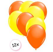 Joni's Glow-Shop Ballonnen Neon Oranje & Neon Geel 12 stuks 25 cm