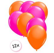 Joni's Glow-Shop Ballonnen Neon Oranje & Neon Roze 12 stuks 25 cm