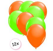 Joni's Glow-Shop Ballonnen Neon Oranje & Neon Groen 12 stuks 25 cm