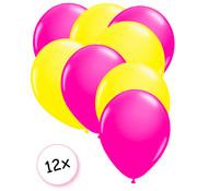 Joni's Glow-Shop Ballonnen Neon Roze & Neon Geel 12 stuks 25 cm