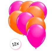 Joni's Glow-Shop Ballonnen Neon Roze & Neon Oranje 12 stuks 25 cm