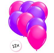 Joni's Glow-Shop Ballonnen Neon Roze & Neon Paars 12 stuks 25 cm