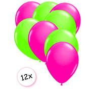 Joni's Glow-Shop Ballonnen Neon Roze & Neon Groen 12 stuks 25 cm