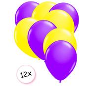 Joni's Glow-Shop Ballonnen Neon Paars & Neon Geel 12 stuks 25 cm