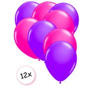 Joni's Glow-Shop Ballonnen Neon Paars & Neon Roze 12 stuks 25 cm