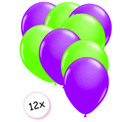 Joni's Glow-Shop Ballonnen Neon Paars & Neon Groen 12 stuks 25 cm