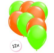 Joni's Glow-Shop Ballonnen Neon Groen & Neon Oranje 12 stuks 25 cm