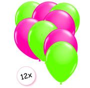 Joni's Glow-Shop Ballonnen Neon Groen & Neon Roze 12 stuks 25 cm