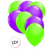 Joni's Glow-Shop Ballonnen Neon Groen & Neon Paars 12 stuks 25 cm