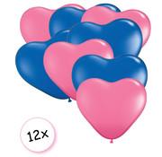 Joni's Winkel Ballonnen Hart Roze & Blauw 12 stuks 26 cm