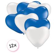 Joni's Winkel Ballonnen Hart Wit & Blauw 12 stuks 26 cm