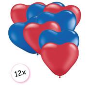 Joni's Winkel Ballonnen Hart Rood & Blauw 12 stuks 26 cm