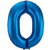 Folat Folieballon Cijfer 0 Blauw 34 Inch / 86 Cm