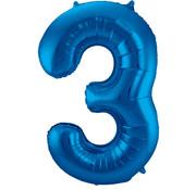 Folat Folieballon Cijfer 3 Blauw 34 Inch / 86 Cm