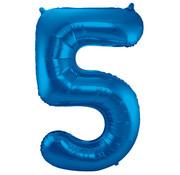 Folat Folieballon Cijfer 5 Blauw 34 Inch / 86 Cm