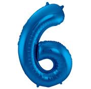 Folat Folieballon Cijfer 6 Blauw 34 Inch / 86 Cm