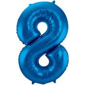 Folat Folieballon Cijfer 8 Blauw 34 Inch / 86 Cm