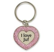 """Miko Glitter Sleutelhanger """"I love juf"""""""