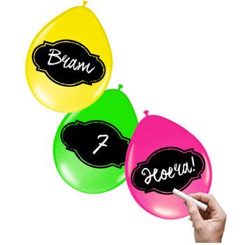 Joni's Glow-Shop Beschrijfbare Ballonnen Neon Meerkleurig 6 stuks 30 cm