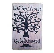 "Postkaart Hout ""Lief bruidspaar, gefeliciteerd"""