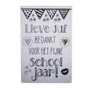 """Postkaart Hout """"Lieve Juf"""""""