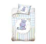 Baby Dekbedovertrek Hippo Blauw 100x135 cm