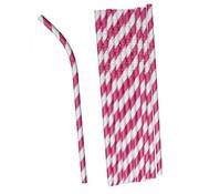 """Joni's Winkel Buigbare papieren rietjes """"Gestreept roze"""" 40 stuks"""