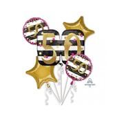 """Anagram Ballonnen Bouquet """"Roze/Goud 50 jaar"""" 5 stuks"""
