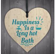 """Joni's Winkel Houten hanger 10x10 cm """"Long hot bath"""""""
