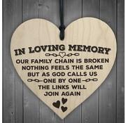 """Joni's Winkel Houten hanger 10x10 cm """"In loving memory"""""""