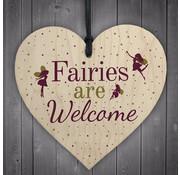 """Joni's Winkel Houten hanger 10x10 cm """"Fairies are welcome"""""""