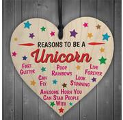 """Joni's Winkel Houten hanger 10x10 cm """"Reasons to be a unicorn"""""""
