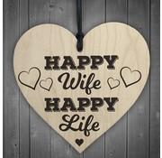 """Joni's Winkel Houten hanger 10x10 cm """"Happy Wife"""""""