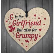 """Joni's Winkel Houten hanger 10x10 cm """"G is for Girlfriend"""""""
