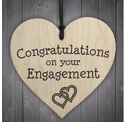 """Joni's Winkel Houten hanger 10x10 cm """"Engagement"""""""