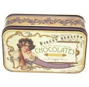 Retro look Blikje Chocolates jongedame 17x10,5x6,5cm