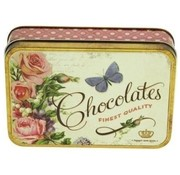 Retro look Blikje Chocolates fine quality vlinder 14,5x10,5x3,5cm